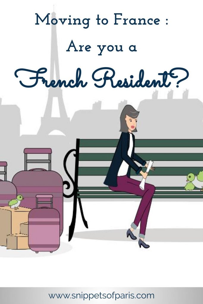 French Resident: Woman sitting on a bench in Paris with luggage next to her (illustration)