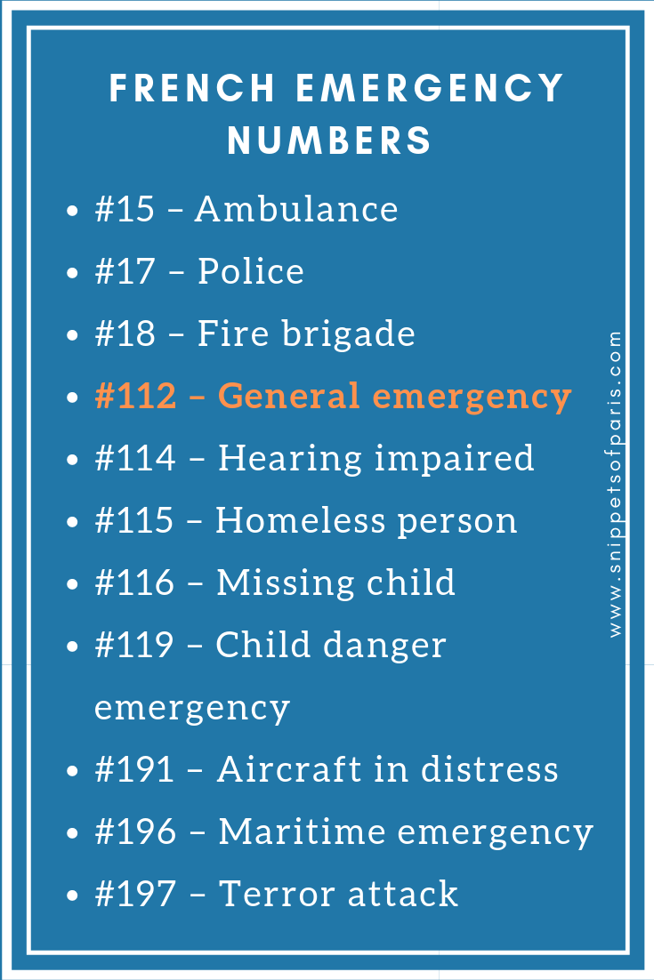No 911: Decoding the 11 French Emergency numbers