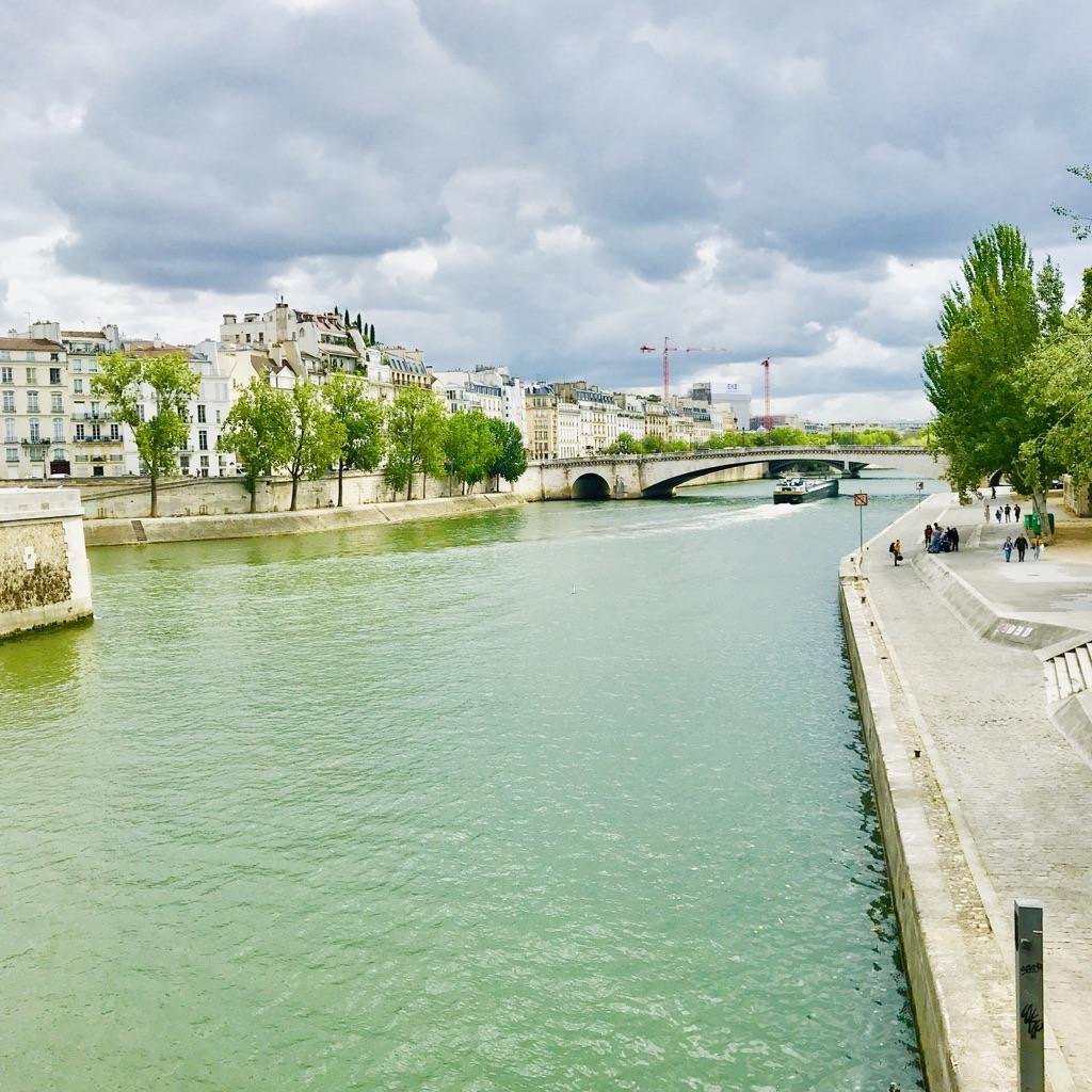 Quai Seine with bateau mouche in the distance
