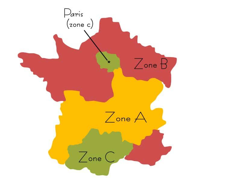 France Zone A B C holidays vacances scolaire