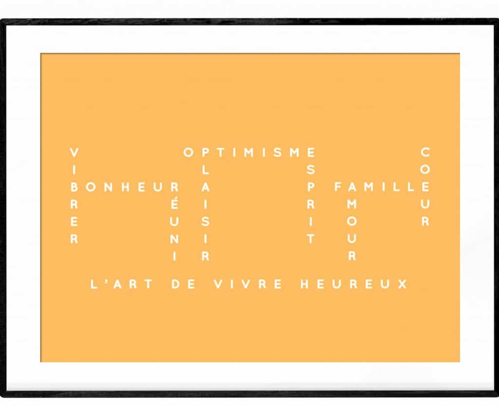 Art de vivre heureux yellow crossword poster