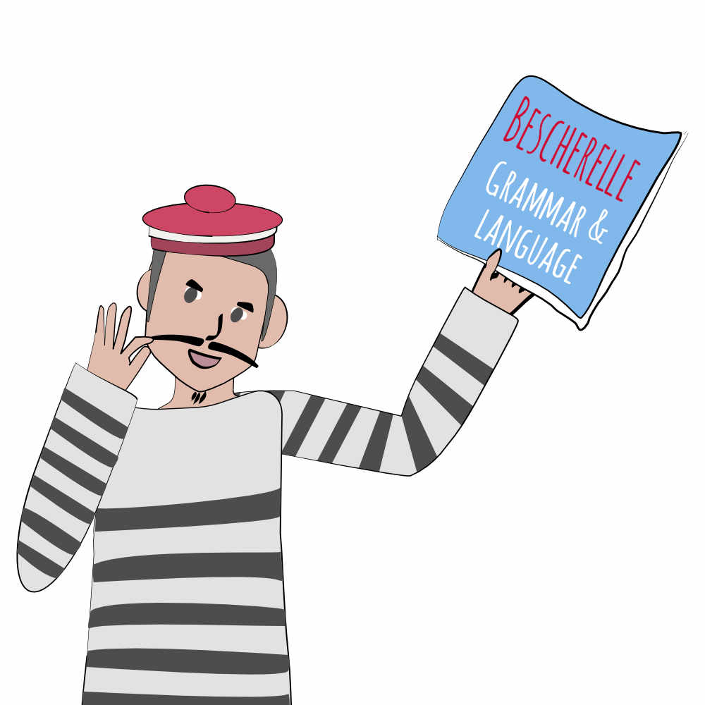 French man in a striped shirt and beret waving around a becherelle grammar and language dictionary