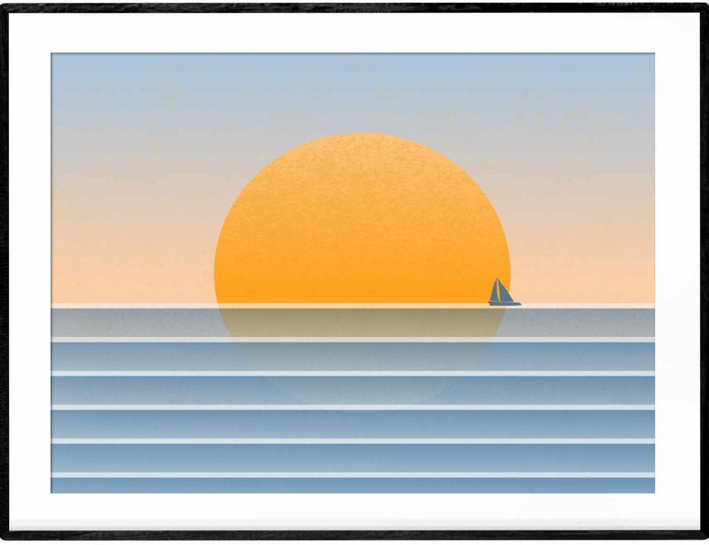 Sunset regatta art poster in blue and orange