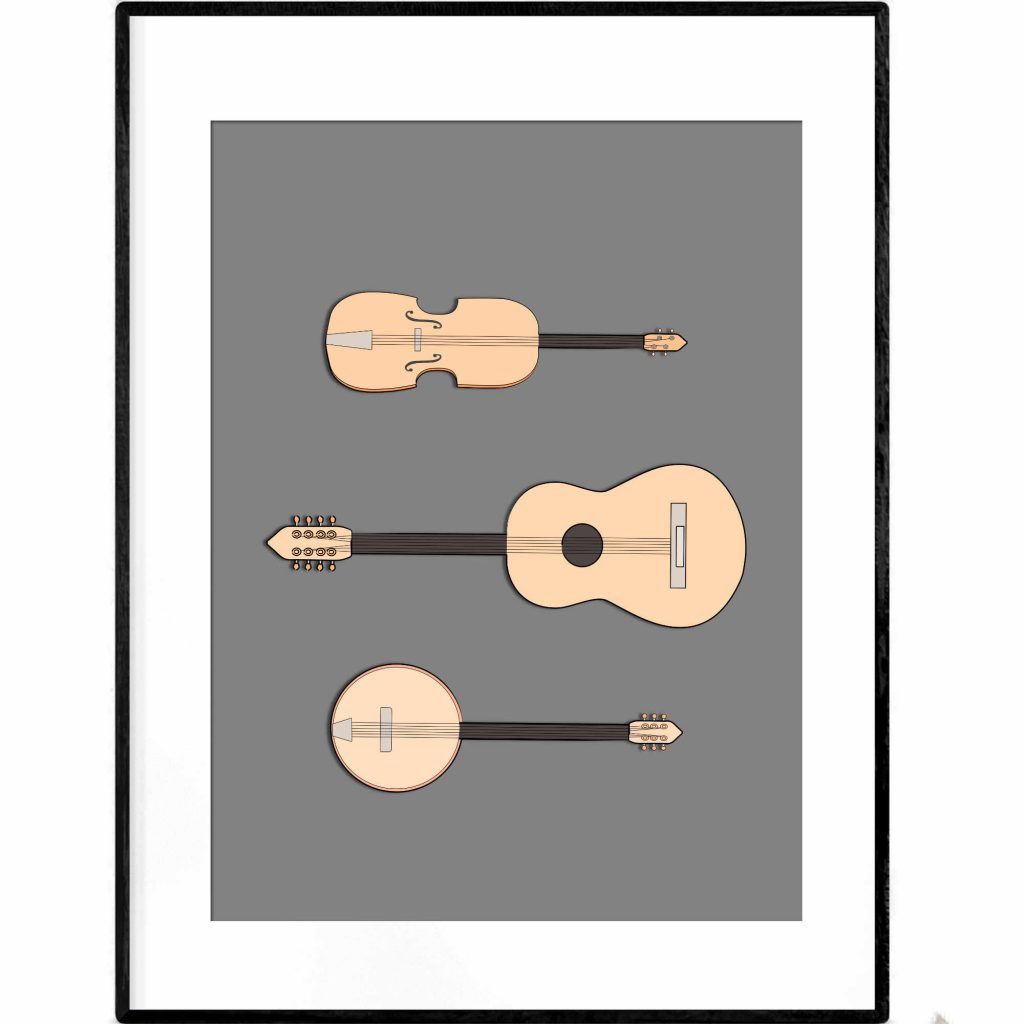 3 Guitars illustration poster - banjo, violin and guitar