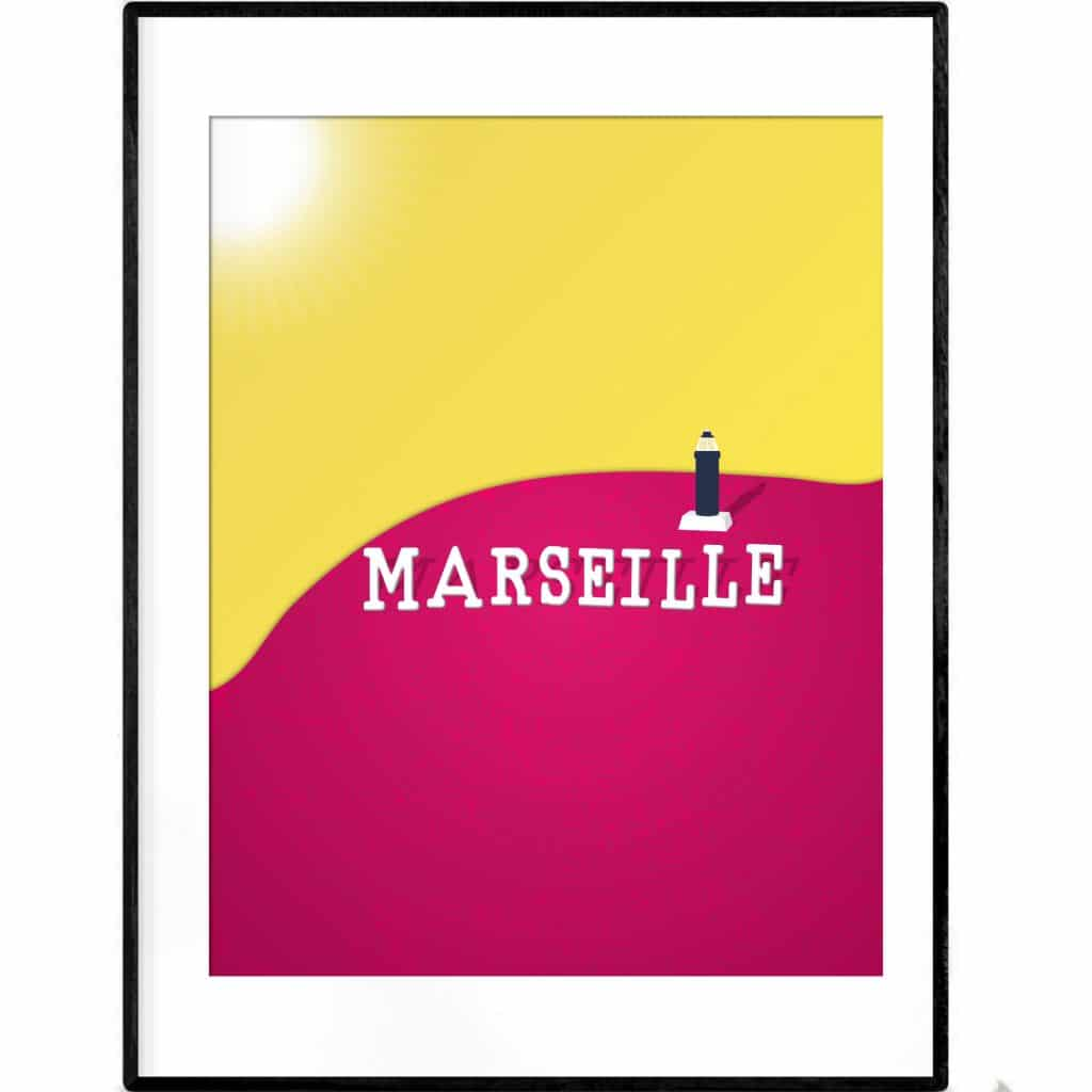 Poster Illustration of Marseille sign with lighthouse in background