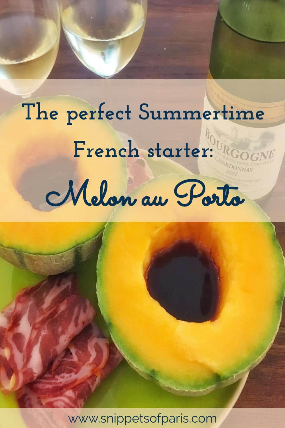 The perfect summertime appetizer, Melon au Porto is a French classic.  Easy to prepare and that requires no cooking, and with a good dose of alcohol to boot! #frenchrecipe #frenchfood
