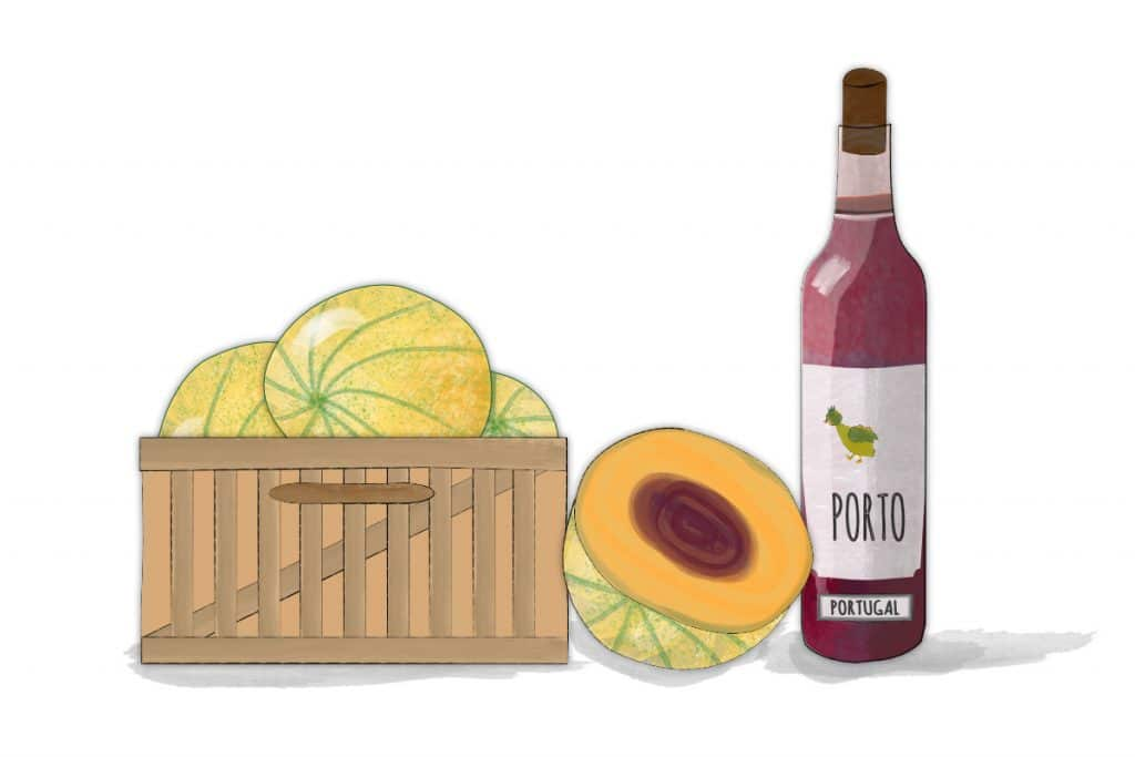 melons with a bottle of porto - ingredients