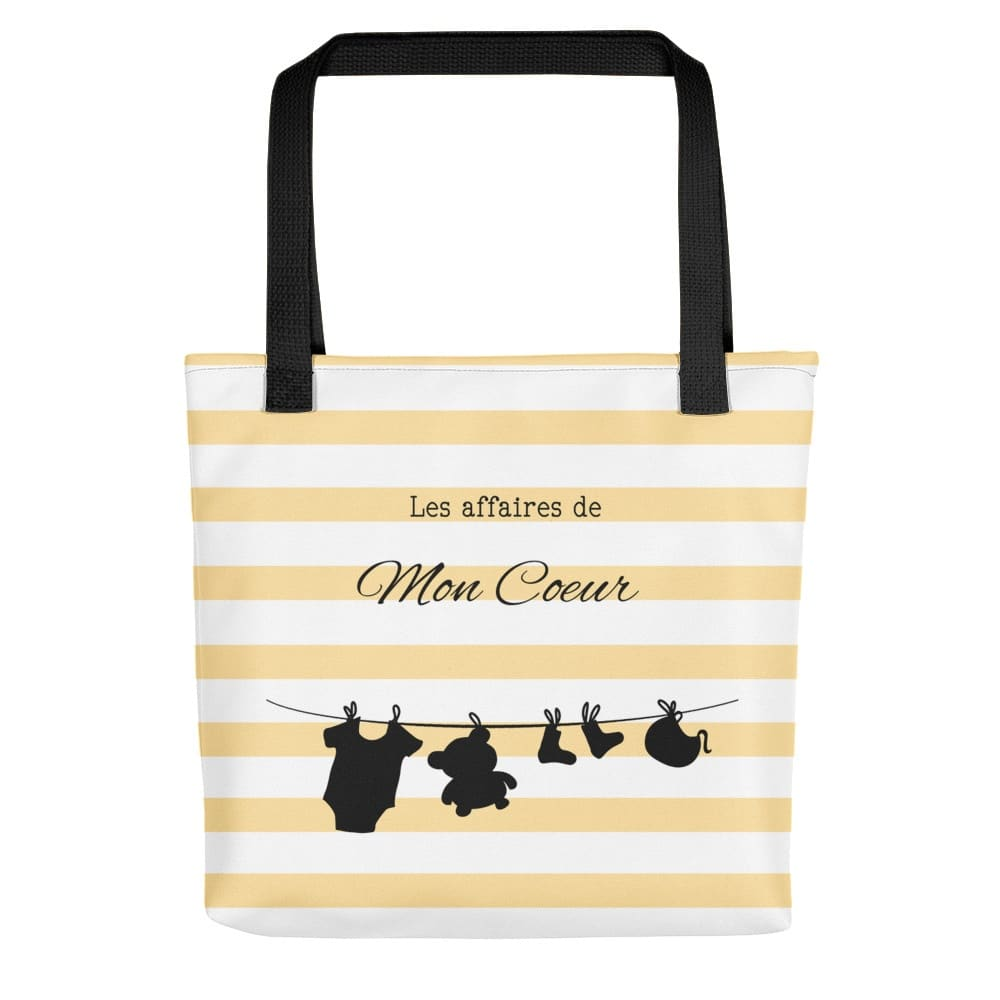 children's yellow and white striped tote bag with children's clothes line illustration on it (Bear, socks bib and a body)