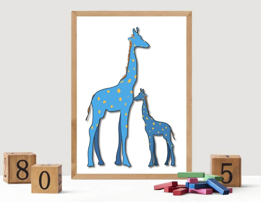 Illustration of Blue with yellow dots Giraffe Mom and baby Poster