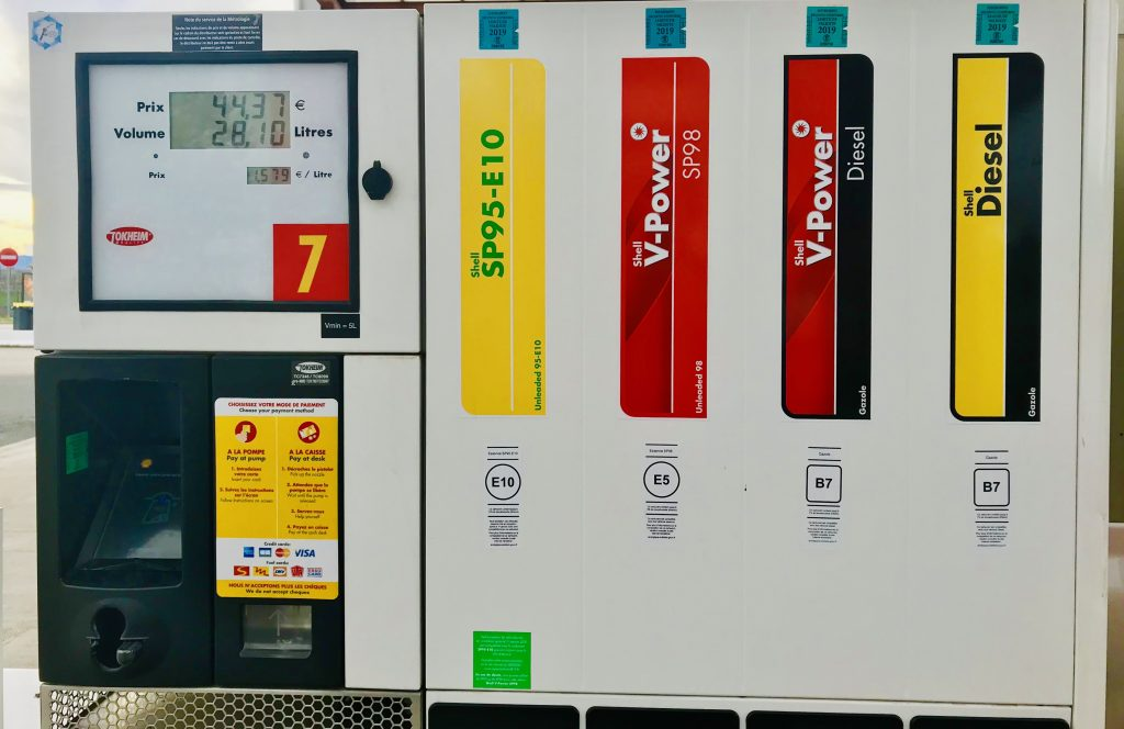 Gas Station in France, showing SP95-E10, V-Power and Diesel