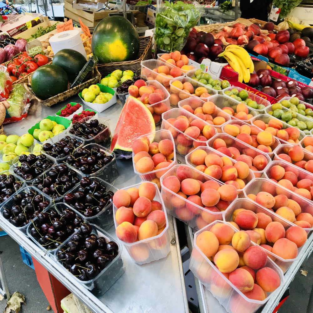 Farmers' market display in Paris