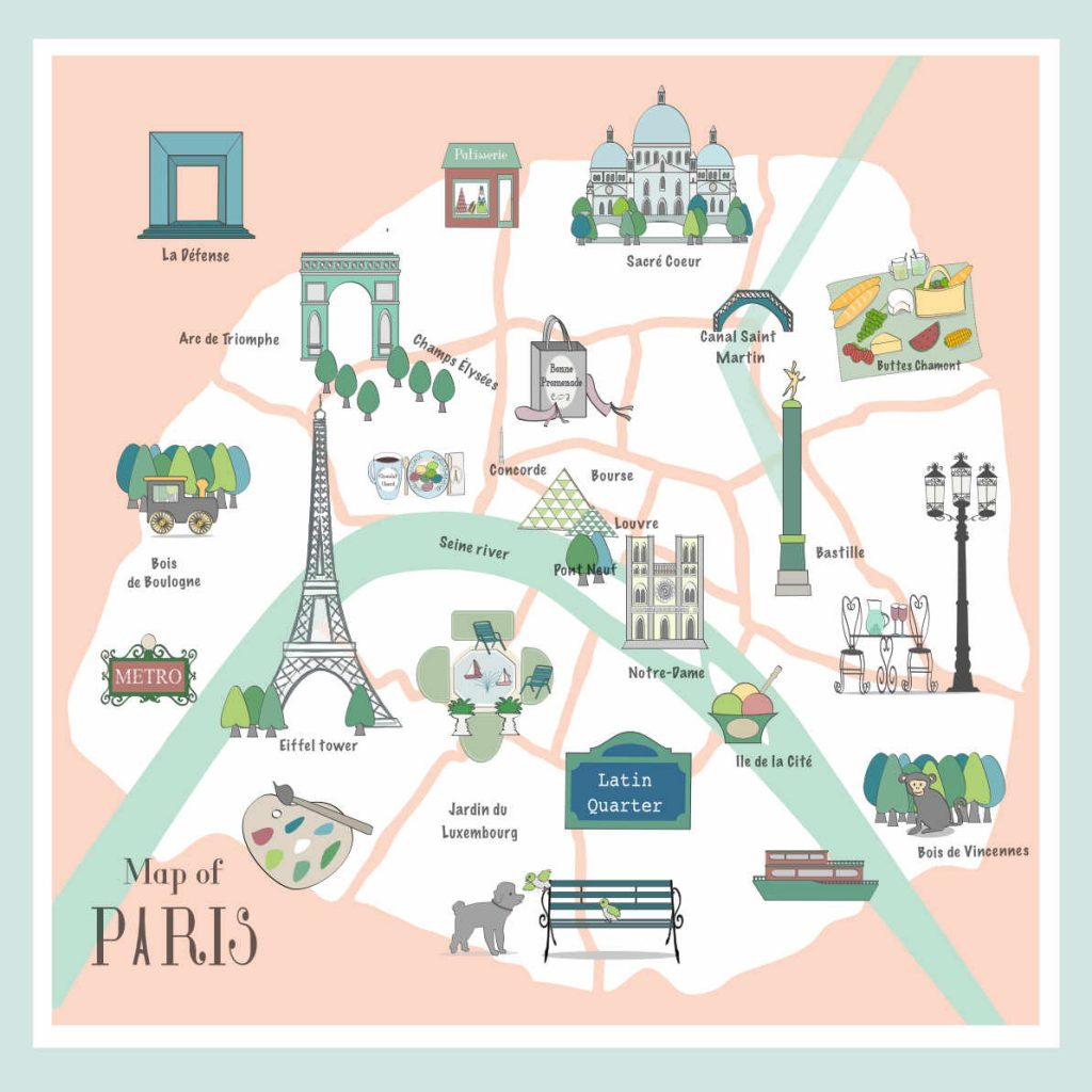 Illustrated map of Paris and its arrondissements