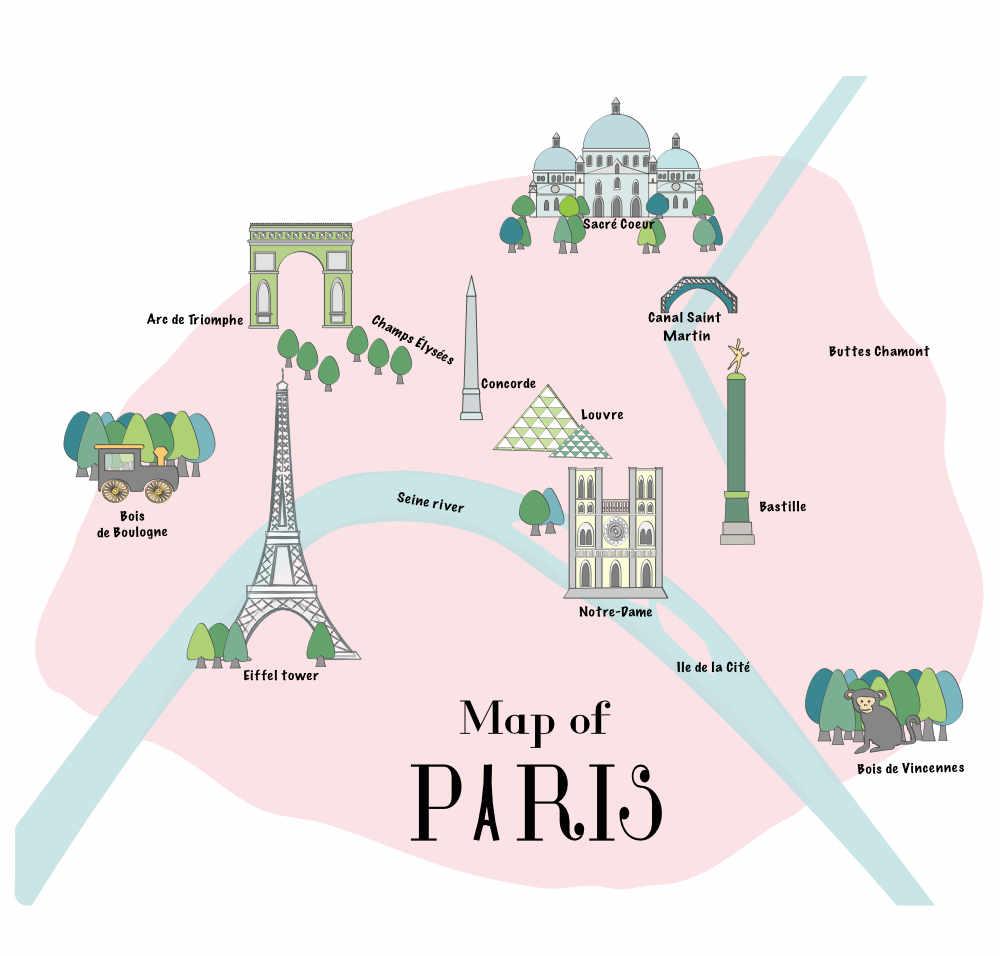 Illustration Map of Paris Intramuros