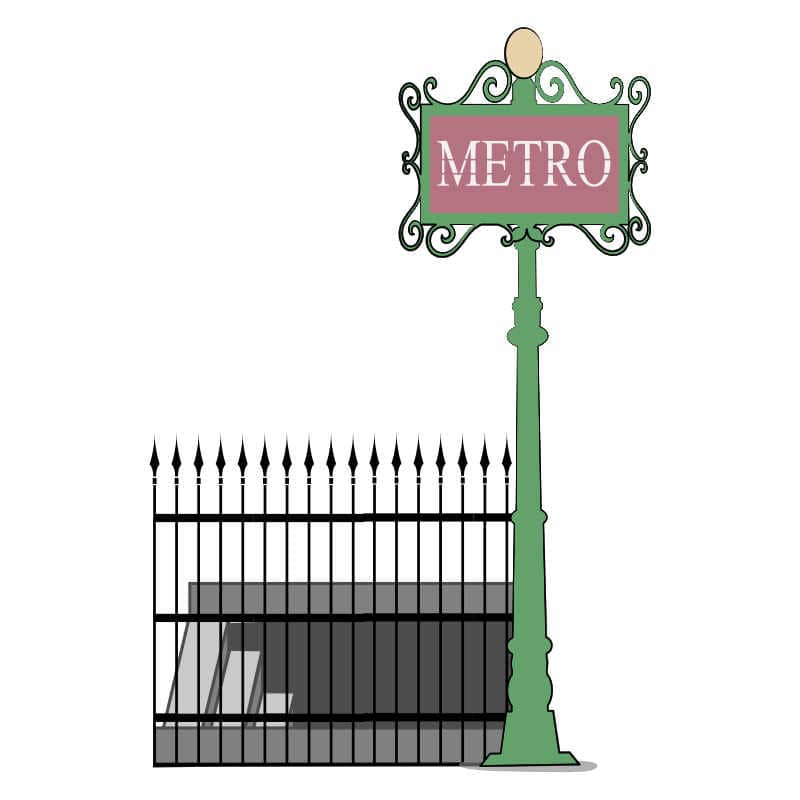 Paris metro stairs illustration