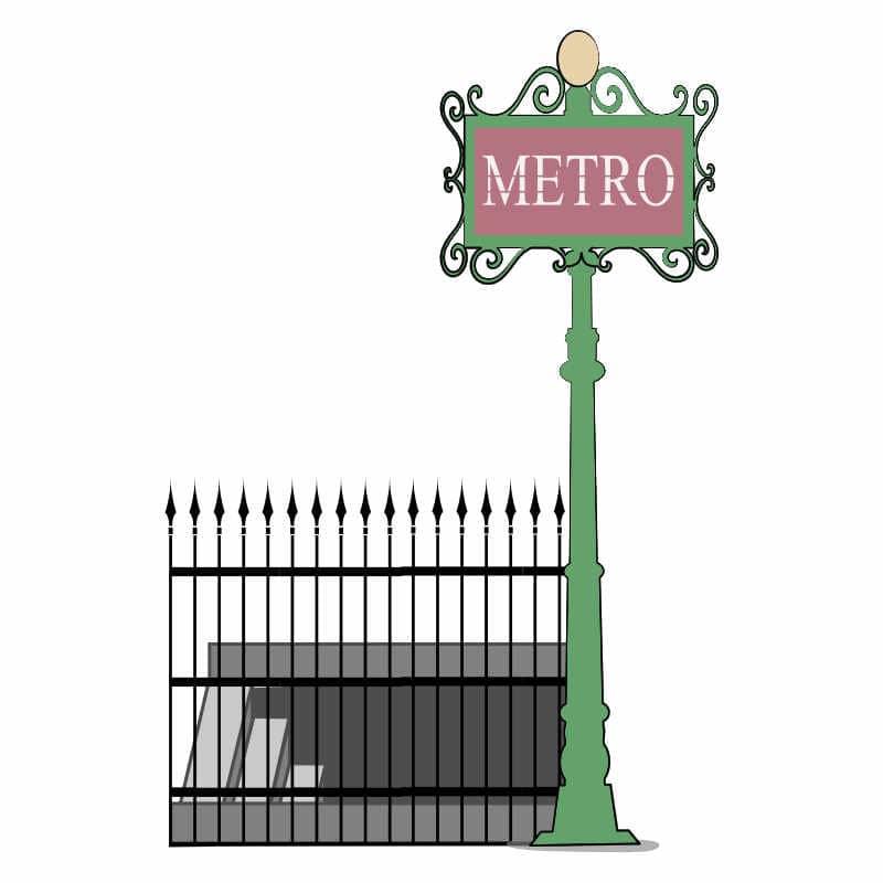 Paris metro stairs illustration