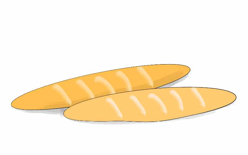 Illustration of a two of baguettes