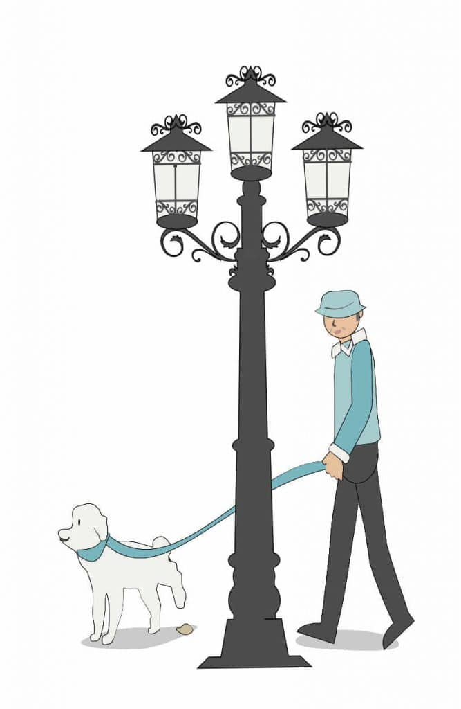 Illustration of a Man walking a dog in Paris