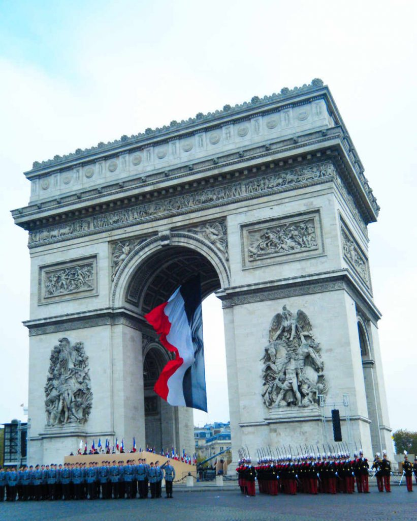 Arc de Triomphe during November 11 Remembrance day ceremony
