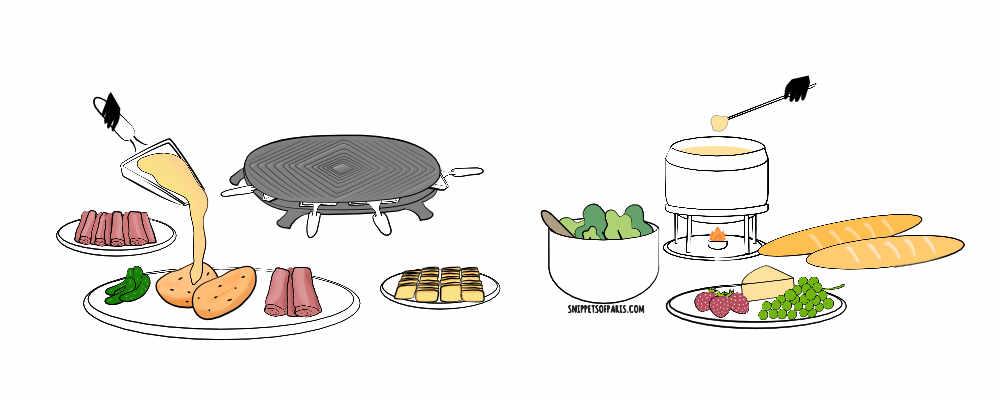 raclette or fondue illustration