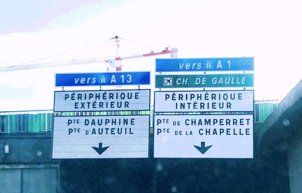 Sign for Boulevard Peripherique in Paris