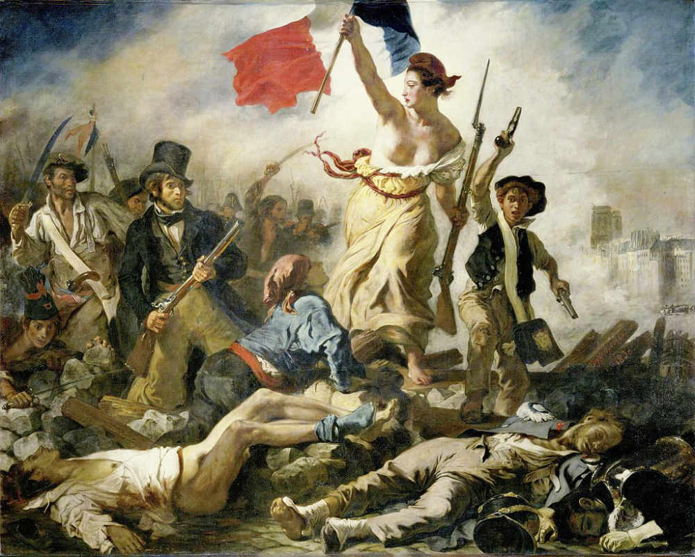 Marianne with naked breast - Eugène Delacroix's Liberty leading the way