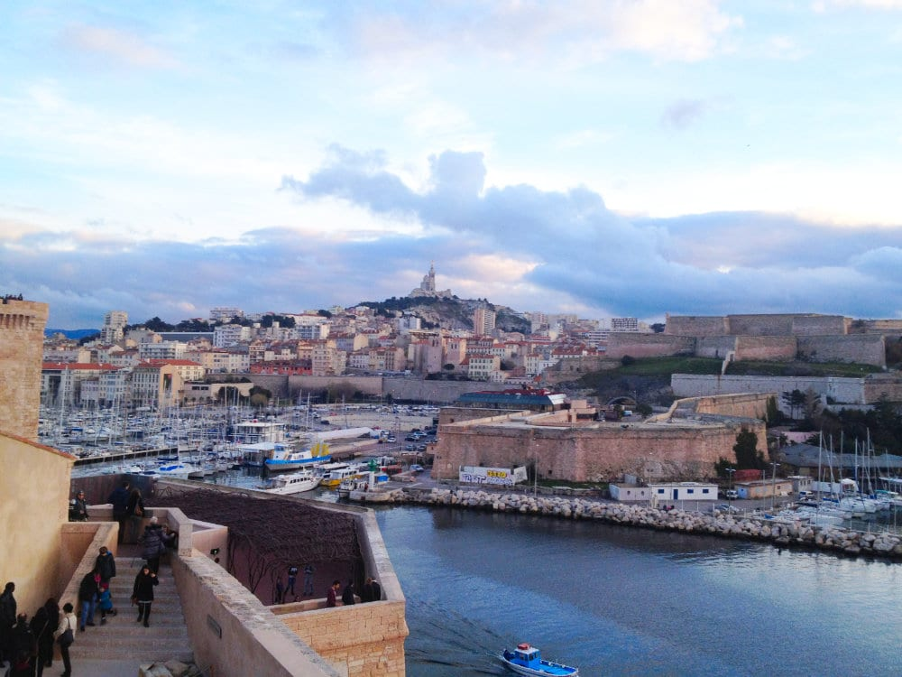 View of the Vieux Port and Notre Dame de la Garde Cathedral from Mucem (Fort Saint Jean)