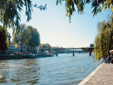 Picnic in Paris on the Quai on the river Seine