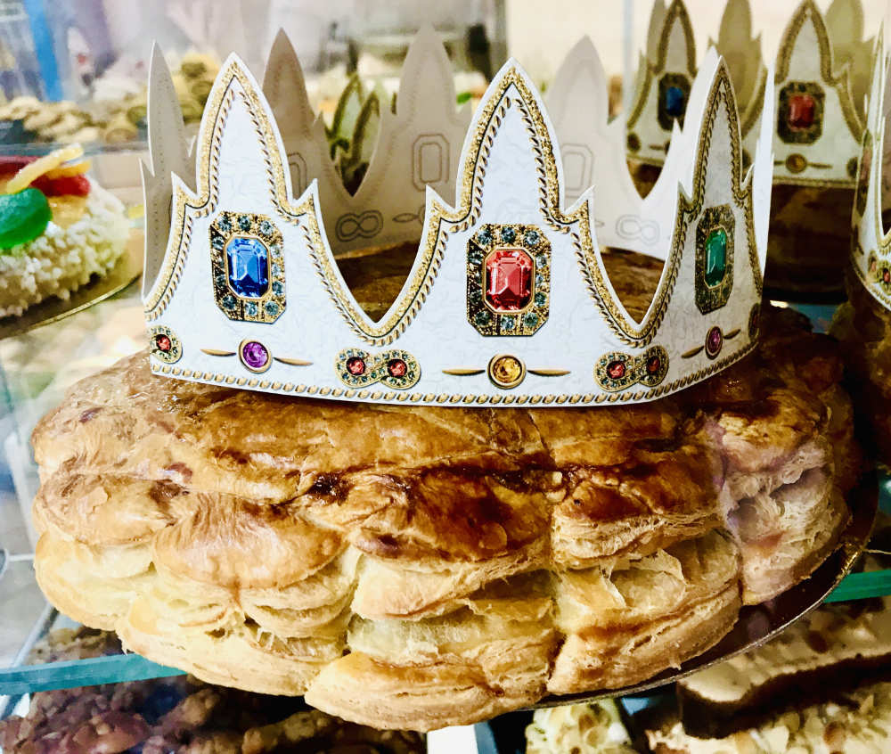 Traditional Galette de roi for 3 kings day in france