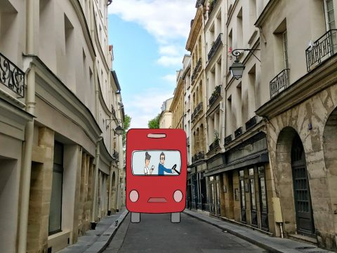 bus on a road in france