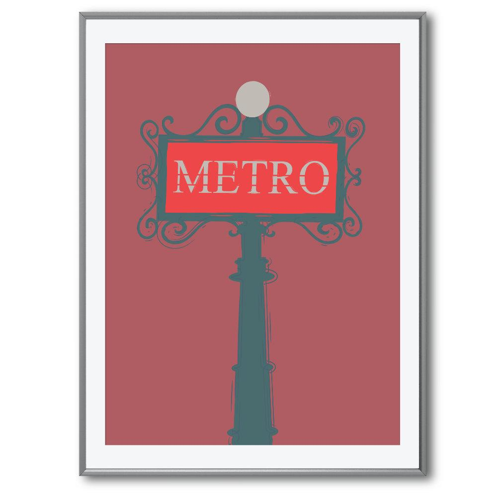 red metro sign poster