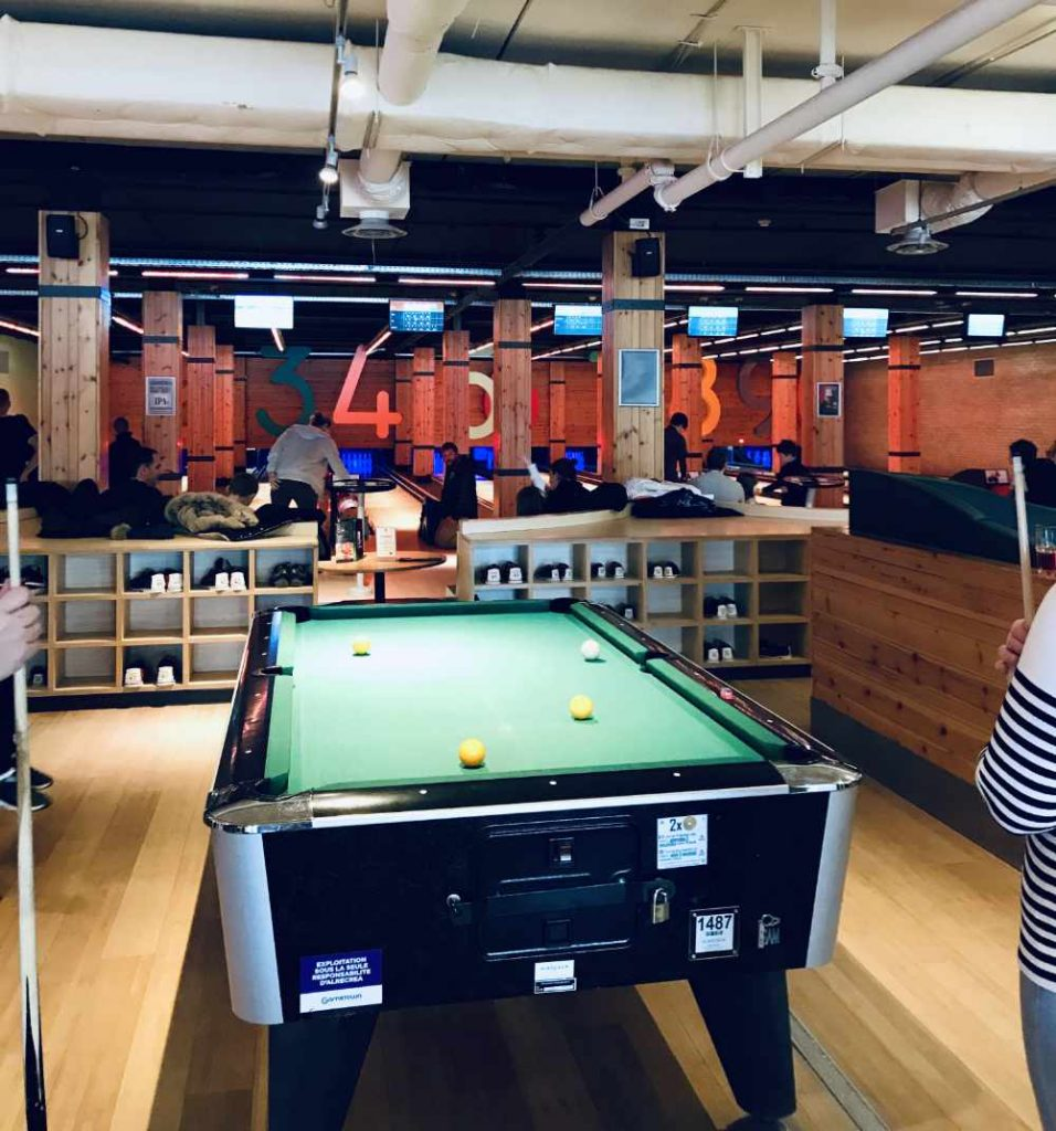 Pool table and Bowling Alley at Center Parcs