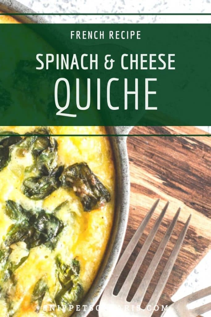 Spinach and Cheese Quiche pin for pinterest