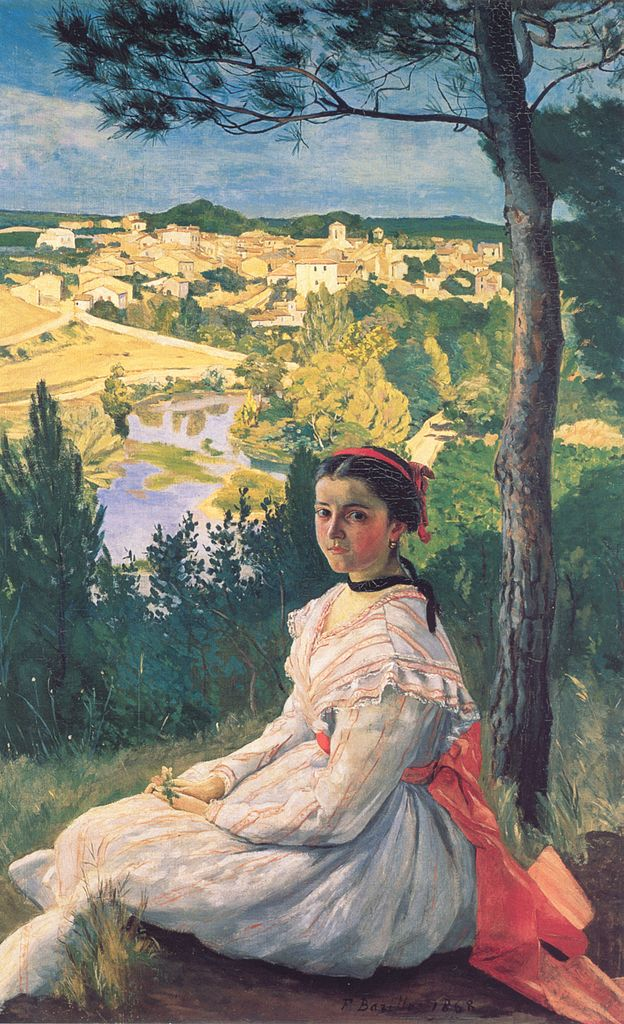 Painting by Montpellier native Frédéric Bazille - View of the Village at Musée Fabre