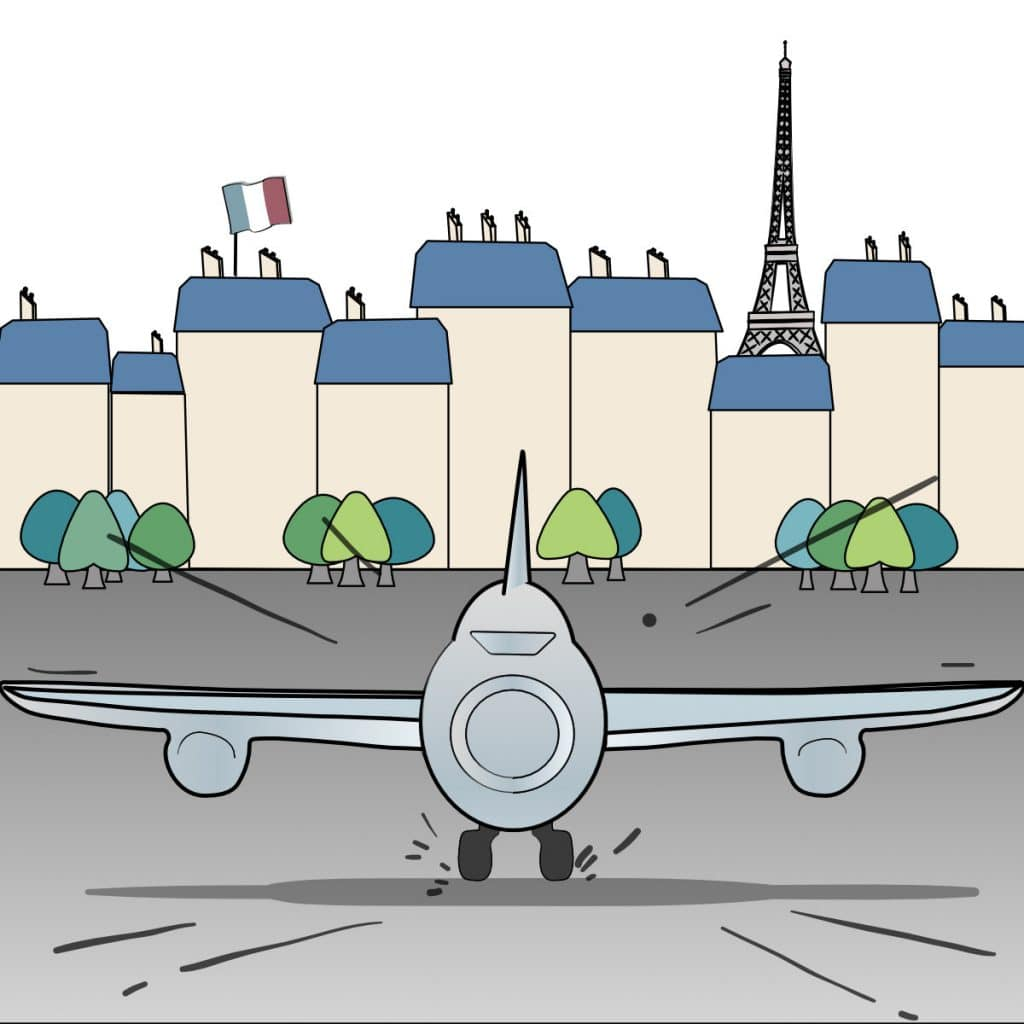 illustration of plane landing in Paris