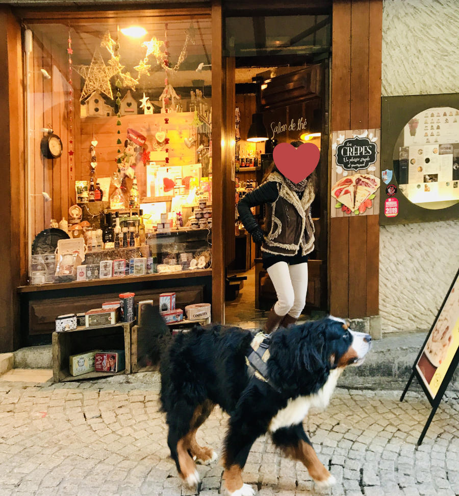 Bourg St. Maurice shop front with dog walking