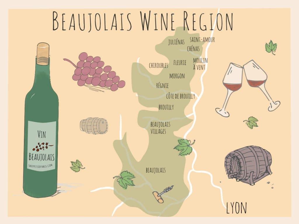 Map of Beaujolais wines region
