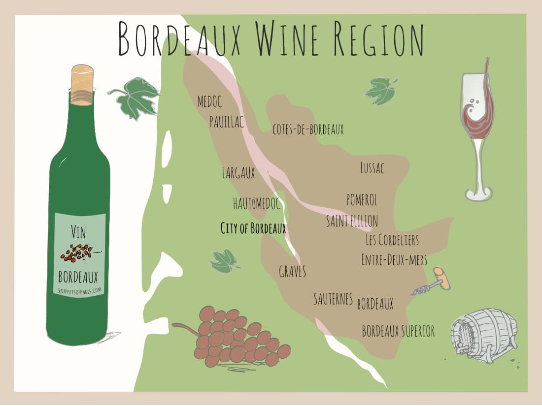 Map of Region - Bordeaux Wines