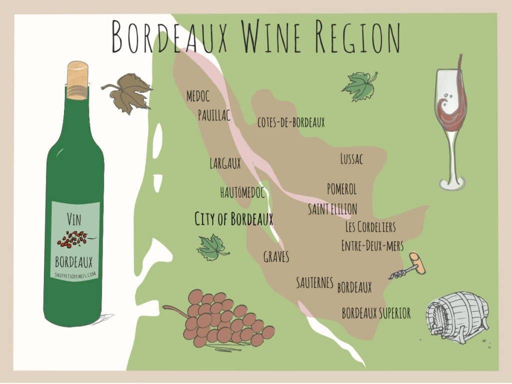 Map of Region - Bordeaux Wines