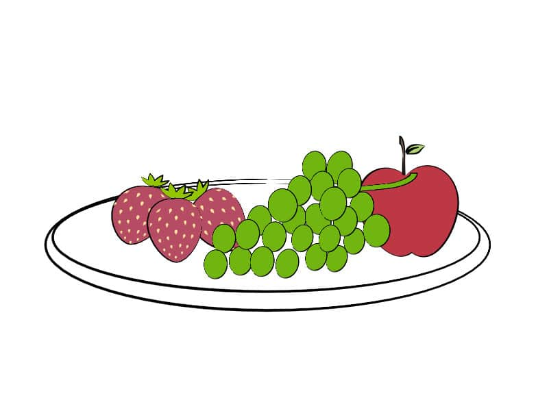 illustration of a plate of fruit (strawberries, grapes, and apple)