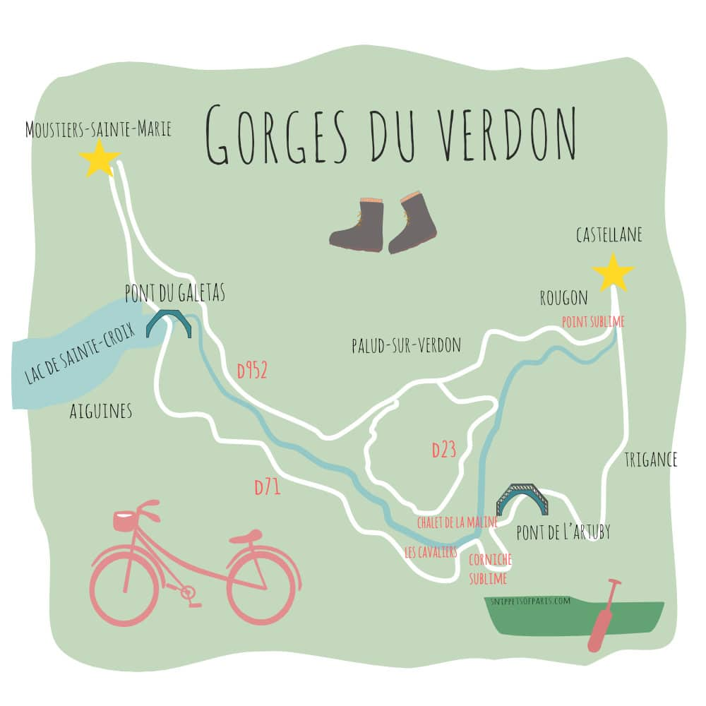 Gorges du Verdon map, Provence, France