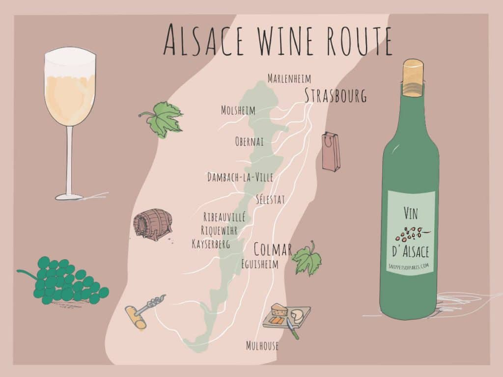 wine from alsace - map of region