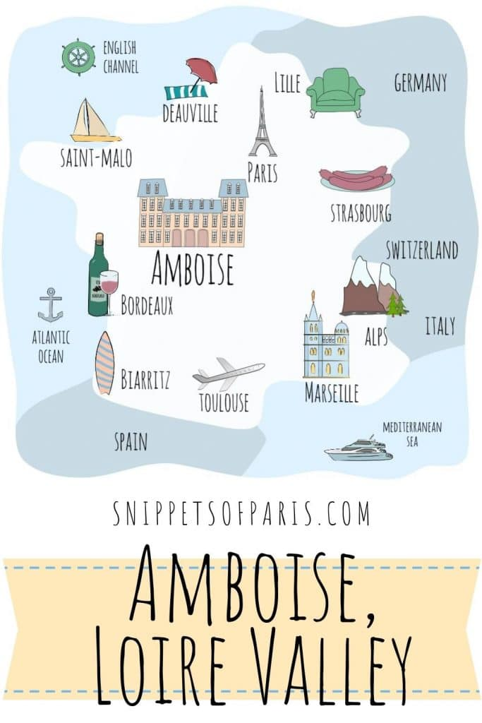 Map of Amboise in France pin for pinterest