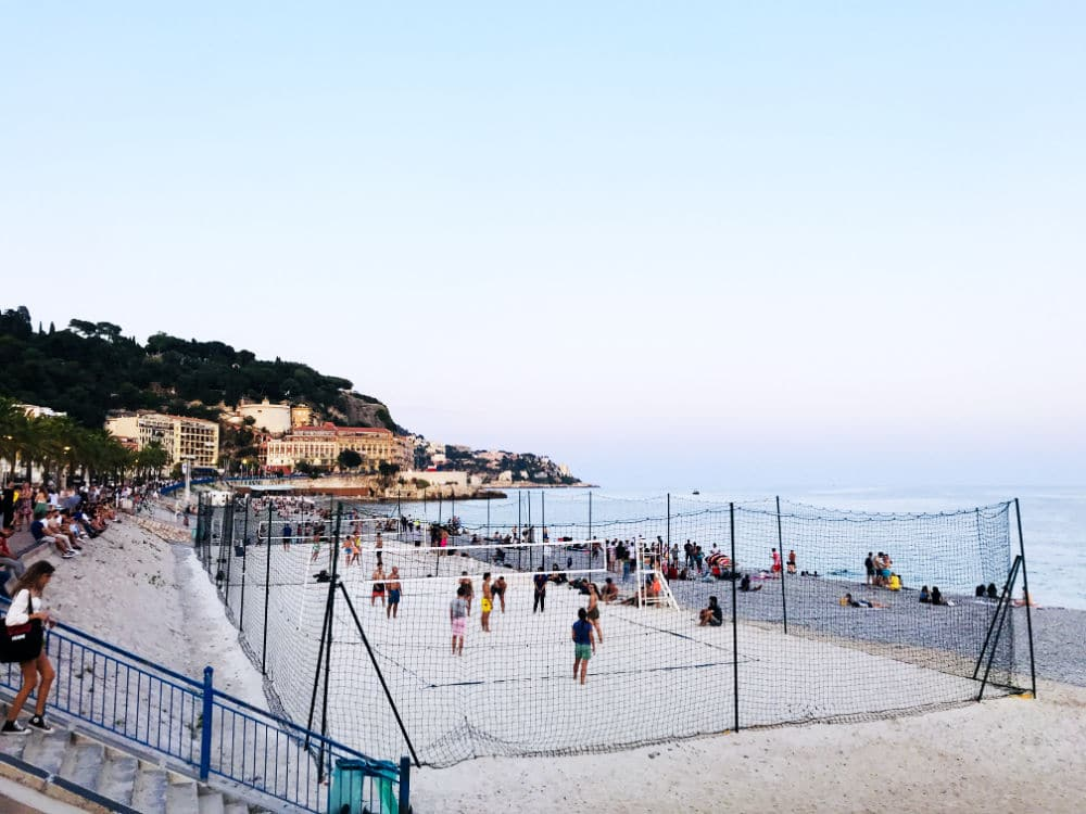 Beaches in Nice at sunset