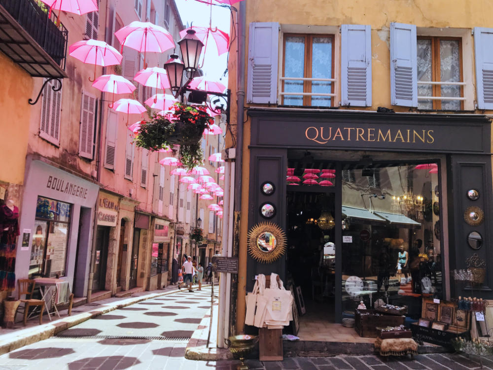 Old town streets in Grasse, France
