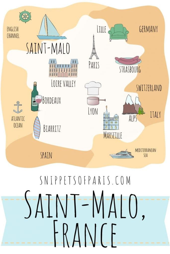 Saint-Malo in France on a map