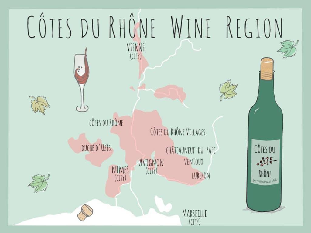 Map of Cotes du Rhone Wine Region in France