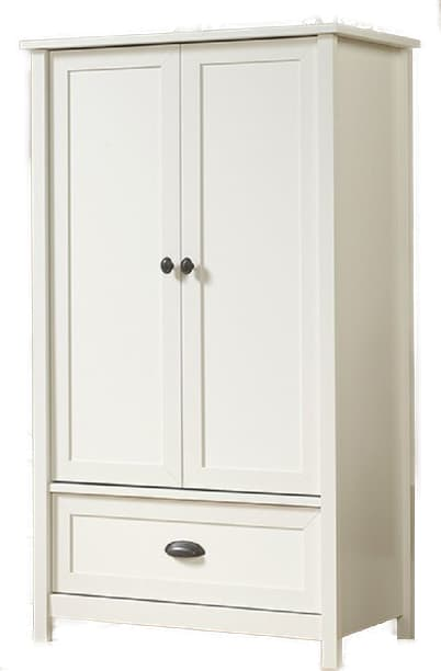 white shaker-style armoire
