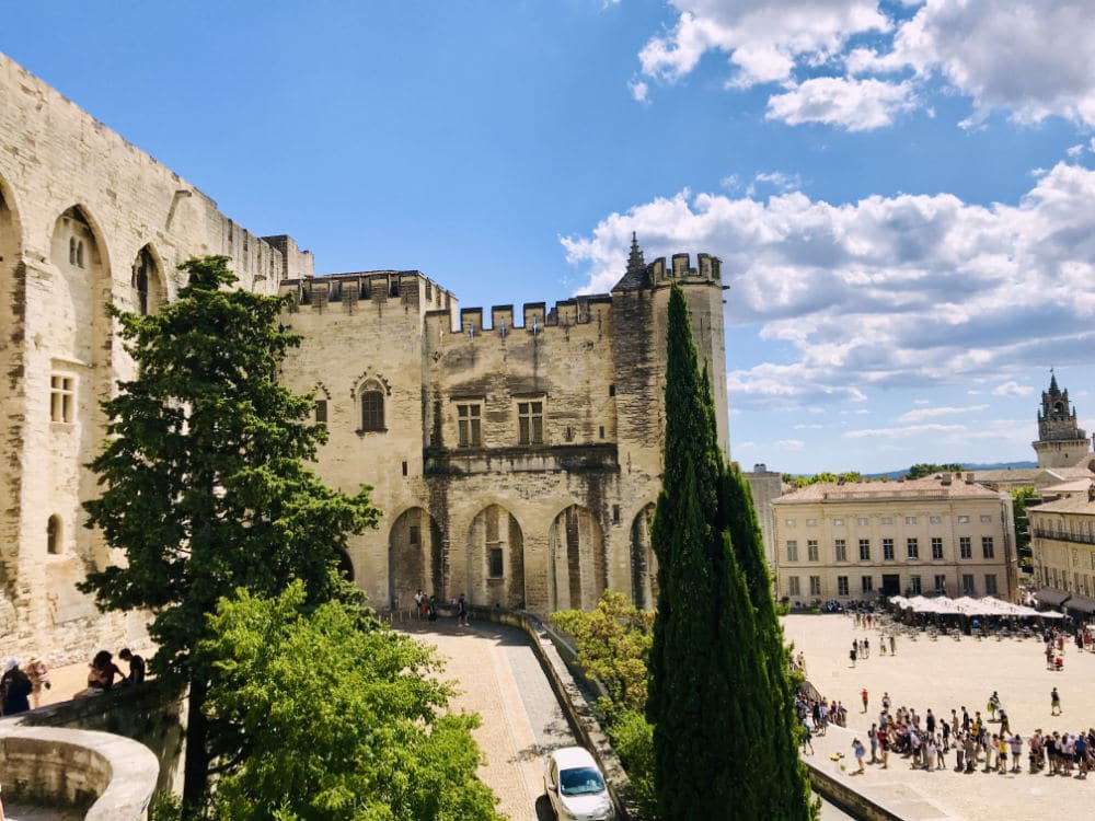 Side view of Palais des Papes in Avignon