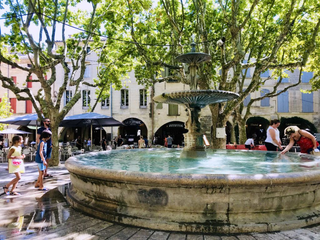 Central square in Uzes in Provence, South of France