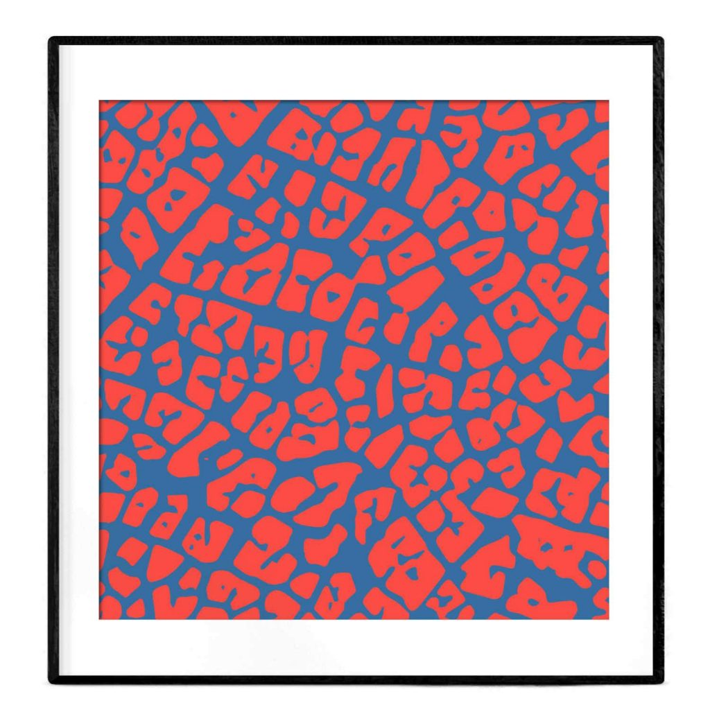 abstract maze poster in blue and coral red